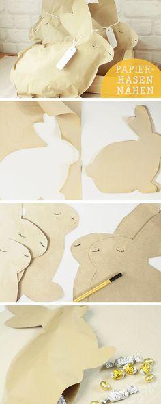 Oster-DIY: Aus Papier niedliche Osterhasen nähen, Osterdeko / diy sewing tutoral for easter bunnys via DaWanda.com