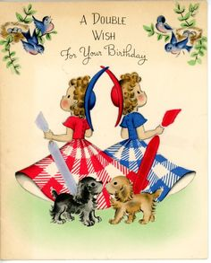 Vintage Norcross Birthday Greeting Card Gingham Girls Cocker Bluebirds 935