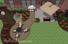 This shape should work for the new yard. Hot tub where umbrella is. Firepit out where table is.