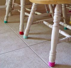 Quick blog post! Or, how I made my chair socks (your results may vary). Fun to make, and if they get dirty wash 'em! If they wear out...