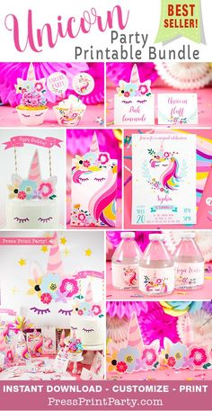 UNICORN PARTY Printable Bundle! Bring delight to any girl and decorate your unicorn birthday party like a pro at home with this amazing set of unicorn party printables!  All you need for a cute DIY unicorn party:  Invitation, cupcake toppers & wrappers, cake topper, favors boxes, place cards, gift tags, decorations, banner, unicorn backdrop, napkin rings, bottle wrapper, thank you card, printable unicorn tiara, party hat, and much more. #unicornparty #unicornprintables