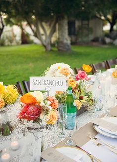 Naming tables after favorite cities? Love this wedding idea! // Sun & Sparrow Photography