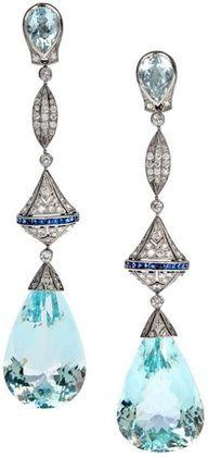 Wat een prachtige kleur voor de zomer, laat die maar komen ! Aquamarine, diamond, sapphire, and platinum long dangle earrings - 50 carats of aquamarines with 2.50 carats of diamonds. They're made in classic Art Deco style