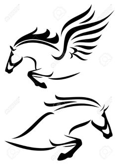 Illustration of black and white outlines of jumping horse and pegasus vector art, clipart and stock vectors. Small Horse Tattoo, Horse Tattoo Design, Horse Stencil, Stencil Art, Stencils, Outline Drawings, Horse Drawings, Pegasus Tattoo, Horse Logo
