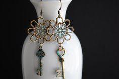 Key to my Heart Earrings by xamara on Etsy