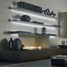 fireplace and floating shelves #techoration