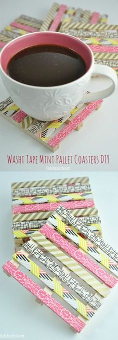 Create mini wood pallet DIY coasters using popsicle sticks, small wood piece and washi tape. So cute and easy! #DIY