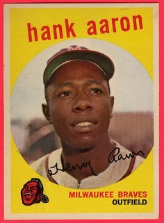1959 Topps baseball card (B) Hank Aaron EX Milwaukee Braves Hockey, Baseball Playoffs, Braves Baseball, Baseball Caps, Baseball Tickets, Baseball Scoreboard, Baseball Savings, Baseball Live, Baseball Uniforms