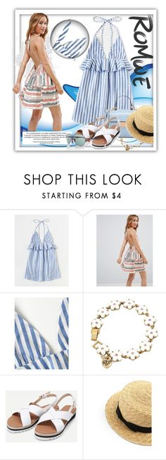 """""""1) Sets must contain the Halter Neck Vertical Striped Frill Trim Dress"""" by vv23 ❤ liked on Polyvore featuring ASOS, Betsey Johnson and Ray-Ban"""