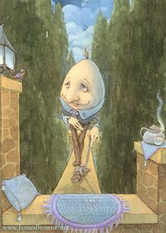 High Tea Humpty Dumpty Print by brownieman on Etsy Fairy Land, Fairy Tales, King Horse, Hey Diddle Diddle, Digital Ink, Humpty Dumpty, Fairytale Art, Gold Ink, James Brown