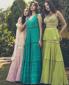Beautiful chiffon-silk dresses with mirror work and hand crafted embellishment. Beautiful chiffon-silk dresses with mirror work and hand crafted embellishment. The post Beautiful chiffon-silk dresses… Indian Wedding Outfits, Bridal Outfits, Indian Outfits, Indian Wedding Fashion, Bridal Dresses, Kurti Designs Party Wear, Lehenga Designs, Indian Designer Outfits, Designer Dresses