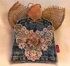 Recycled Jean Pocket Folk Art Angel Ornament w/ burlap wings & button face (pink, blue lace) by JunkWeLove on Etsy