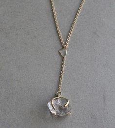 Asymmetrical Triangles & Herkimer Diamond Necklace by Elaine B Jewelry on Scoutmob Shoppe