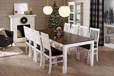 OONA-ruokailuryhmä valkoinen/tumma pähkinä (pöytä 200x95cm ja 8 pinnatuolia verhoiltu istuin) | Sotka.fi