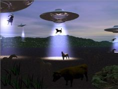 UFOs Abducting Cows and Horses Postcard | Flickr - Photo Sharing!