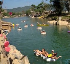 Tubing, Vang Vieng, Laos. About 6 miles down with the river and many bars on each side.