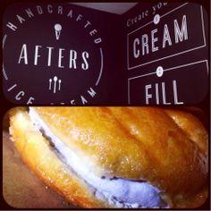 Afters Ice Cream , Fountain Valley, CA - Behold the Milky Bun. Warm and fluffy Glazed Donut - smooth and creamy Jasmine Milk Tea Ice Cream center! #believethehype