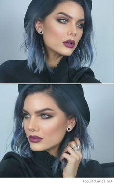 Blue hair and purple lips