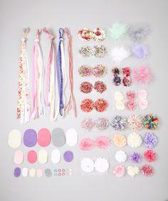 My Sunshine Shoppe Pink & Purple Floral DIY Hair Accessory Set by My Sunshine Shoppe #zulily #zulilyfinds