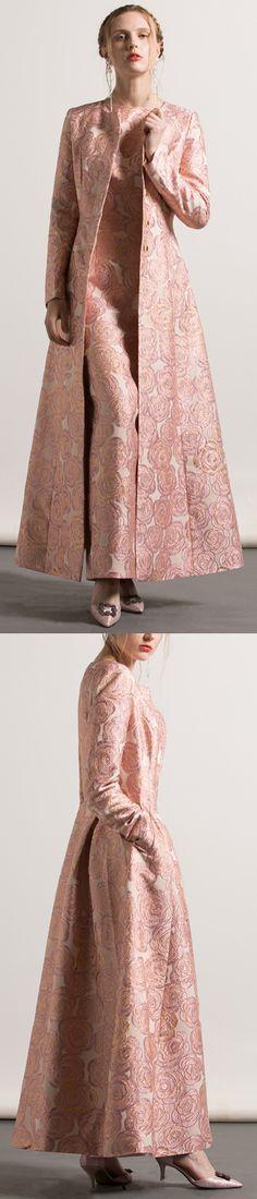 $159.00-2017 pink jacquard cotton trench coats fashion casual o neck long coat3 #coat#llongcoat#omychic