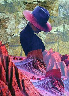 Údolí koláž 50 x 50 cm by Jana Černochová Collage, Author, Painting, Hat, Inspiration, Chip Hat, Biblical Inspiration, Collages, Painting Art