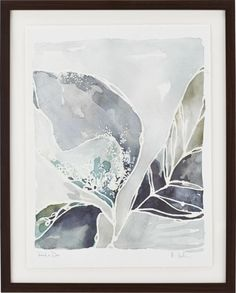 Using the white of the paper to outline graceful leaves and the sparkle of collected dew, Kelly Ventura renders dawn's playful shadows and subtle shades in watercolor washes of tonal blues, sea glass and patina green.  Our gorgeous giclée reproduction on paper captures all the nuance of the original watercolor painting.  Each hand signed and titled print is presented with white back mat and framed in matte black durian wood.