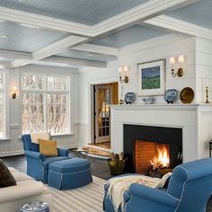 """Benjamin Moore Color...""""Cumulus cotton."""" This color is on the ceiling in the room. I am in awe of how this shade pairs beautifully with the white trim."""