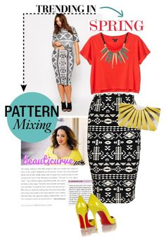 """""""Spring Pattern Mixing With Rochelle From Beauticurve.com"""" by anne-symanski-goranson ❤ liked on Polyvore featuring ASOS Curve, Boohoo, Monki, Burberry, Christian Louboutin, WallPops, Kenneth Cole, contestentry, Rochelle and PVCurvyChic"""