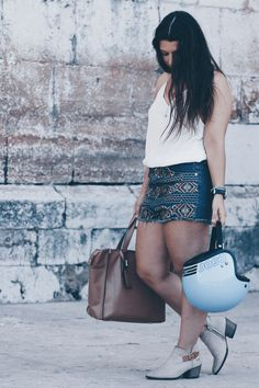denim shorts and booties