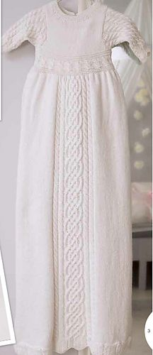 Exquisite cabled Christening gown from Scandinavian source.  This looks Celtic.  Knitted in alpaca silk.  This would take years to make!