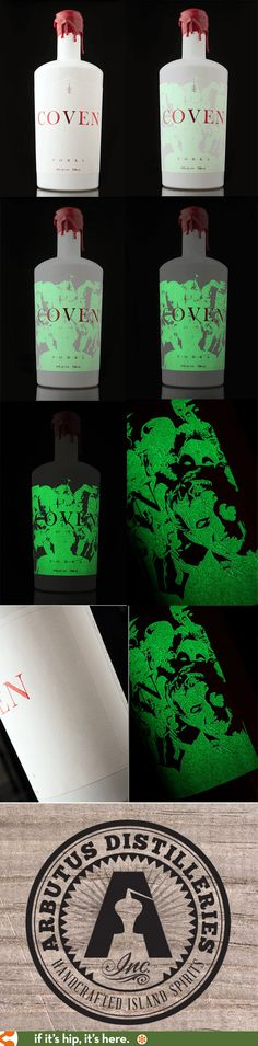 Coven Vodka's Glow In The Dark Bottle designed by Hired Guns Creative for Arbutus Distillery. Bottle Packaging, Brand Packaging, Packaging Design, Label Design, Alcohol Bottles, Vodka Bottle, Chocolate Wrapping, Jar Art, Halloween Drinks