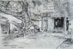 Fountain pen on paper. Rayong, Landscape Sketch, Paper Size, Fountain Pen, Thailand, King, Painting, Outdoor, Art