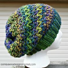 Slouch Hat Free Pattern Sizes Preemie to Adult Large @OombawkaDesign #crochetpattern #crochethat