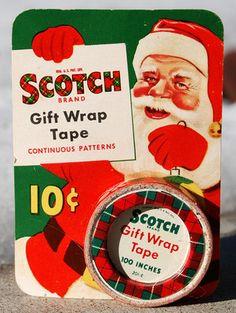 Vintage Christmas Ephemera ~ Scotch Tape Refill on Display Card w/ Santa Claus 10¢ * Circa, 1950's