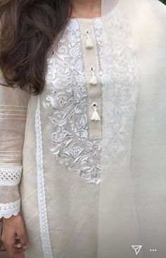 Pakistani Formal Dresses, Pakistani Fashion Casual, Pakistani Outfits, Indian Fashion, Embroidery On Kurtis, Kurti Embroidery Design, Embroidery Dress, Baby Girl Dresses, Bridal Dresses