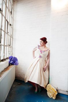 The-couture-company-alternative-bespoke-custom-made-wedding-quirky-dresses-unusual-1950s-tea-length-swing-vintage-lace-silk-embroidered-lace-dress-bride-bright-colour-curvy-plus-size-voluptuous-Emma-Case-Photogra (61) | The Couture Company • Bespoke wedding gowns made to order in Birmingham