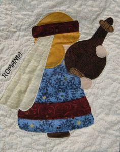 ROMANIA Sunbonnet Sue block at MooseStash Quilting. Design by Debra Kimball - International Sunbonnet Sue