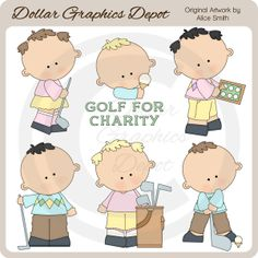 "Golfers Clip Art - *DGD Exclusive* - Only $1.00 at www.DollarGraphicsDepot.com : Great for printable crafts, scrapbook pages, greeting cards, gold fundraiser signs / banners, golf event flyers / mailers, golf league newsletters, golf store window decals, golf shop website graphics, miniature golf party invitations, ""golf lovers"" stationary, and lots more!"