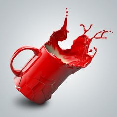 Paint splash in jug I See Red, My Favorite Color, My Favorite Things, Paint Splash, Sculpture, Shades Of Red, Drawing, Lady In Red, Surrealism