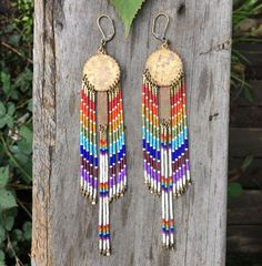 Mellonia... Brass and seed bead earrings by DancingWillowDesign
