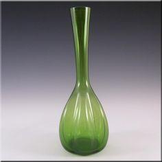 Elme 1970's Scandinavian Green Glass 'Melon-Form' Vase - £22.49