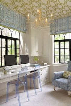Office decor with ghost chairs, great modern look! Love the use of colour, texture and pattern!