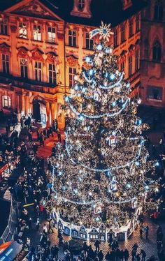 Christmas tree at Old Town Square in Prague, Czechia Christmas In Europe, Best Christmas Markets, Christmas Town, Christmas Travel, Christmas Holidays, Prague Christmas Market, Holiday Travel, Xmas, Prague Czech Republic
