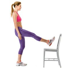 Leg Lift  This move targets the quads.  How to do it: While you stand facing a chair, raise your right leg, knee facing up, foot flexed and place your heel on the seat. Make sure not to lock your standing knee as you lift your right foot off the chair and straighten it out until you feel your quadriceps engage. Keeping your lifted leg in the air, bend the leg on the floor slightly and then straighten it again.  Do 10-15 reps, then switch sides and repeat for 1 full set; do 3 sets.