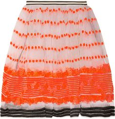 Marni Sequence Embroidered Organza Skirt in Orange
