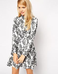 ASOS+Skater+Dress+in+Textured+Floral+with+High+Neck+and+Long+Sleeves
