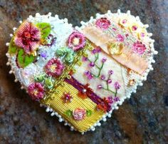 Crazy Quilt Heart Pin A