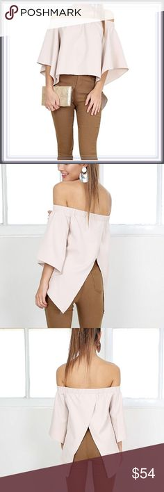 NWT Blush Off The Shoulder Split Back Top ➖NWT ➖Medium, Large ➖STYLE: A light dusty pink blush colored off the shoulder top with a split open back as well as large Ruffle like sleeves. A truly unique top! ❌NO TRADE Tops Blouses