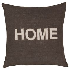Add a charming touch to your living room or den with this lovely jute pillow, showcasing a typographic motif in charcoal.       Product:
