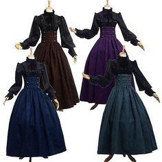 Victorian Walking Skirt Gothic Steampunk HighWaist Lolita Ruffle Blouse/Shirt